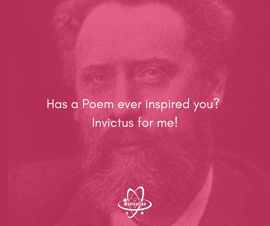 Artistically enhanced portrait of British Poet William Ernest Henley (1849–1903) with the Caption Question: Has a Poem ever inspired you?