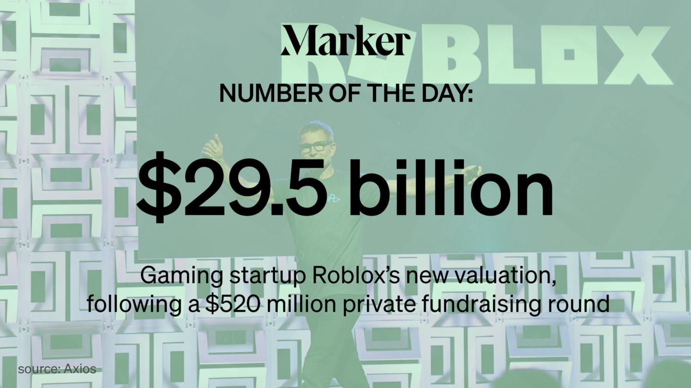 """""""$29.5 billion—Gaming startup Roblox's new valuation, following a $520 million private fundraising round"""" with Roblox photo"""