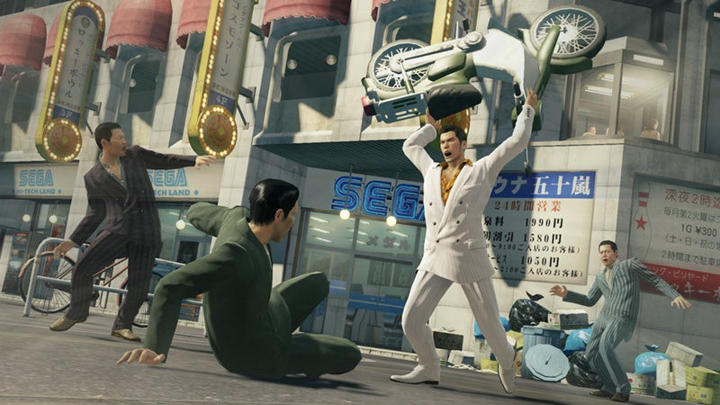 Kiryu using a moped as a giant blunt weapon against a bunch of thugs