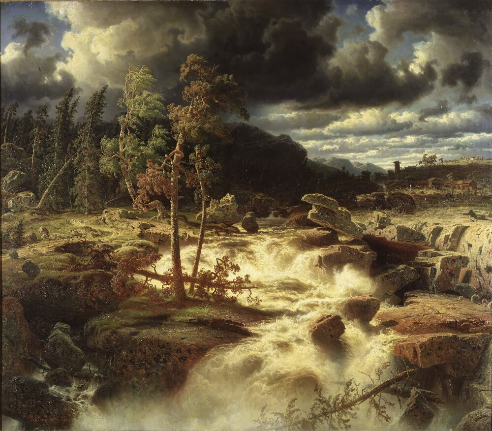 Dark clouds loom across the sky. The wind whistles through the treetops and the river crashes over rocks and boulders.