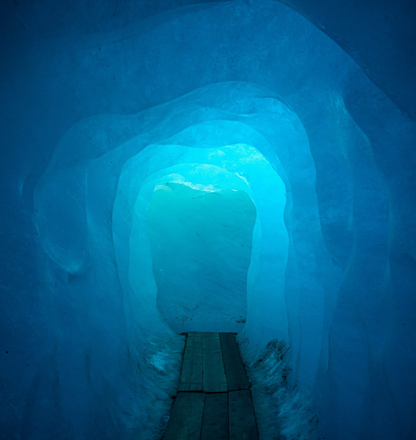 tunnel with layers of ice