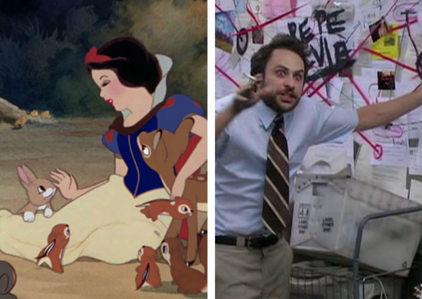 two images side-by-side; the LHS is Snow White, sweetly singing to adorable animals. This is contrasted with the RHS image, of a wild-eyed dishevelled man pointing emphatically at a very messy whiteboard of diagrams, notes, and map lines