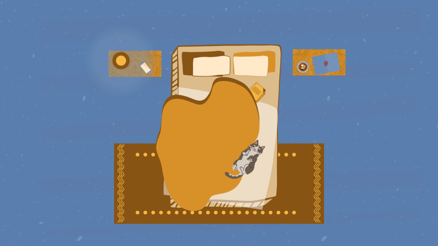 Graphic illustration of a bed with a cat sleeping on it, with discarded laptop, tea, and a book strewn across the room.