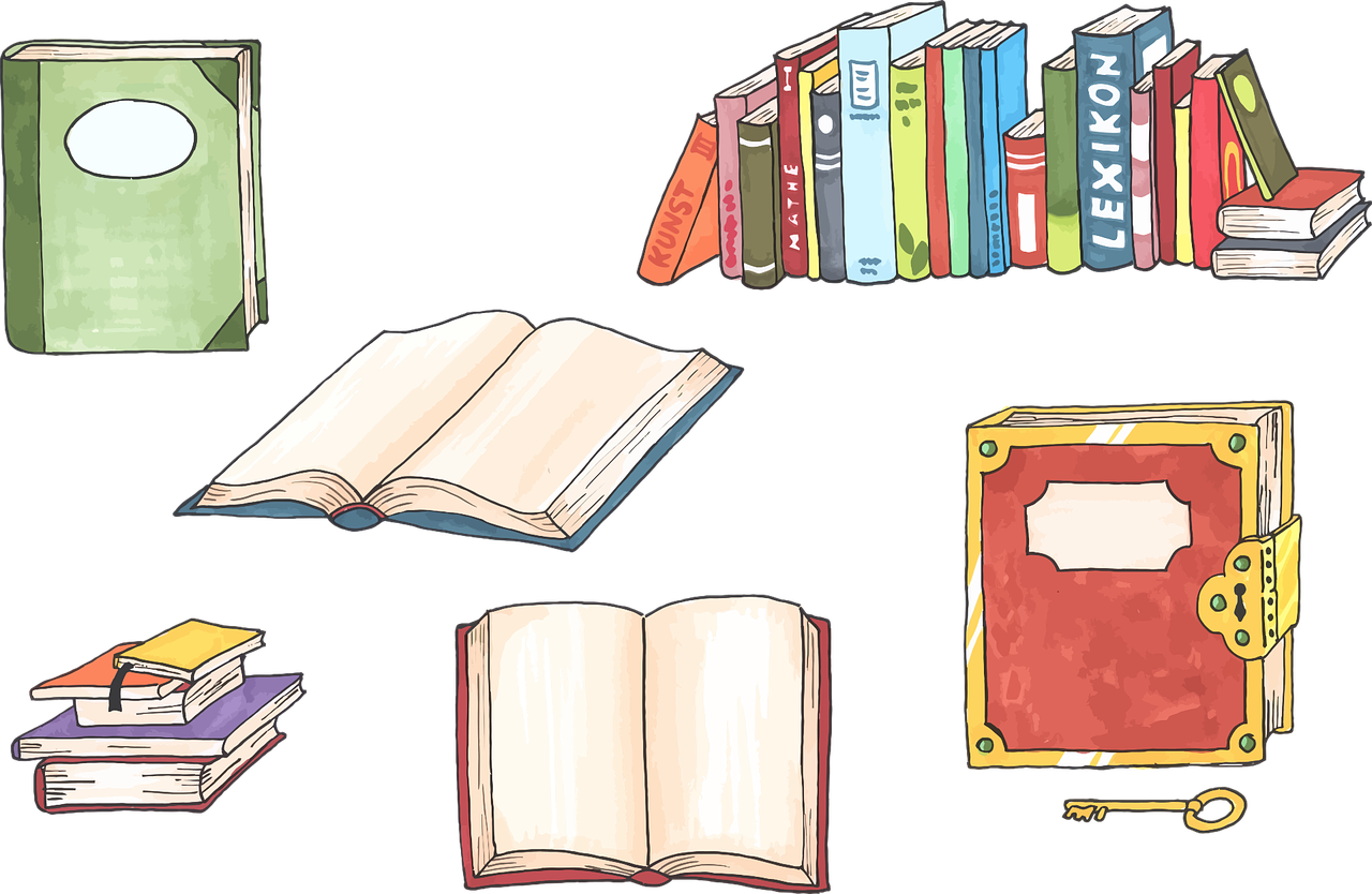Books, arranged in a variety of ways. Some open, some closed. Some in piles, some in line. One with a golden lock and key.