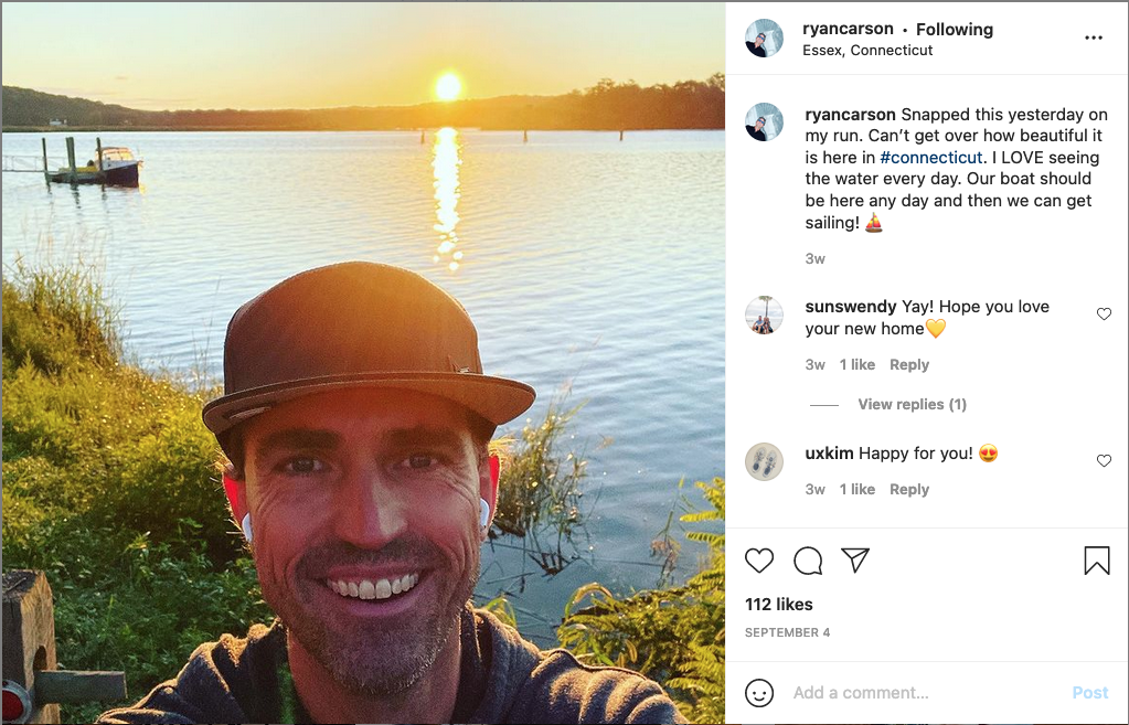 Ryan Carson by the water. Caption reads 'Snapped this yesterday on my run. Can't get over how beautiful it is here in #connecticut. I LOVE seeing the water every day. Our boat should be here any day and then we can get sailing!'