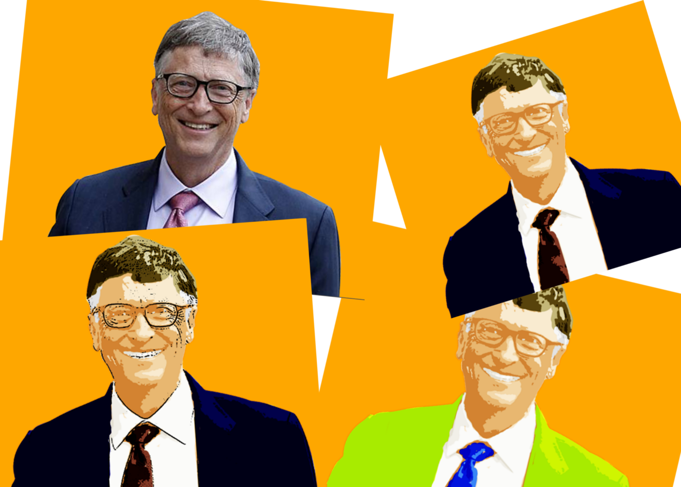 different cartoon images of bill gates