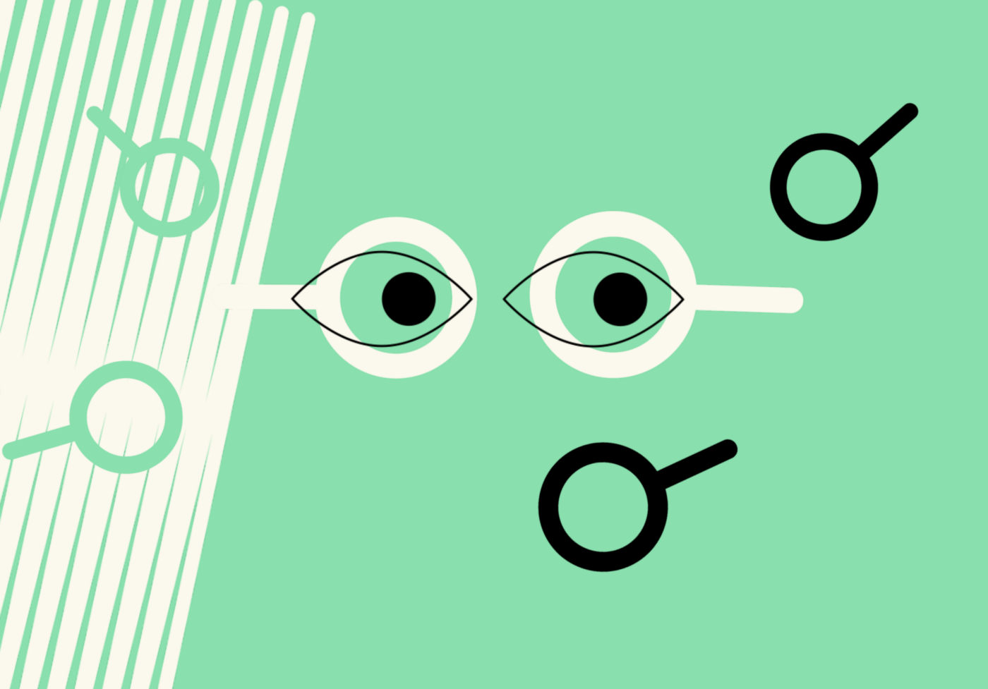 Illustration of a pair of eyes and magnifyng galsses
