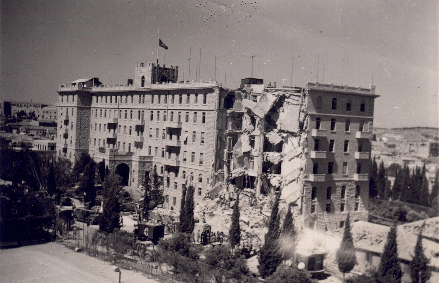 Black & White Photograph of the aftermath of the bombing of the King David Hotel, Jerusalem, by the Irgun on 22 July 1946 in which 91 people died