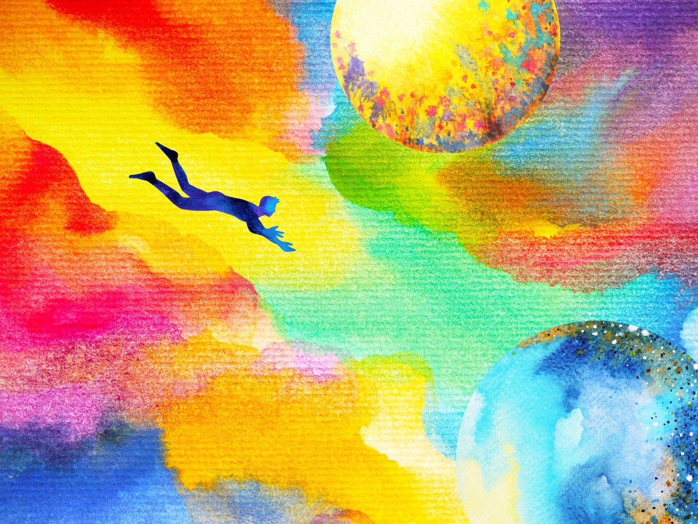 A watercolor abstract illustration of a man swimming through multicolored clouds/space.