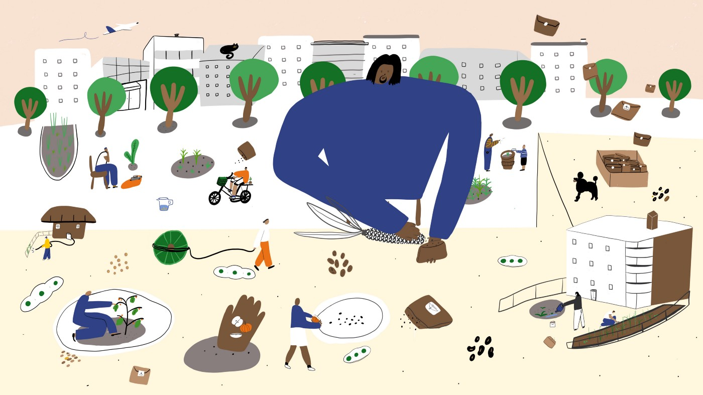 Illustration of Esiah picking kernels off a corn cob and placing them into brown envelopes. A green cityscape unfolds behind.