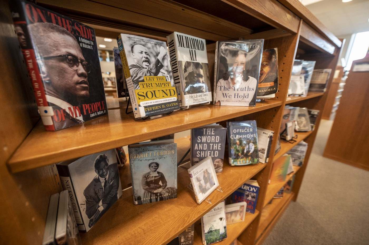 A black history book display at a library.