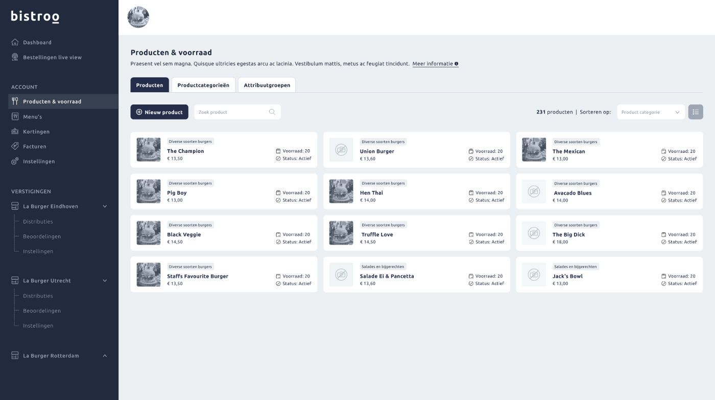 Wireframing for the Bistroo Core V4 merchant dashboard