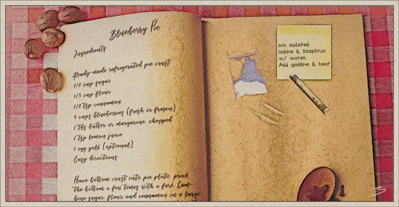 Recipe book with recipes for pue and cocaine
