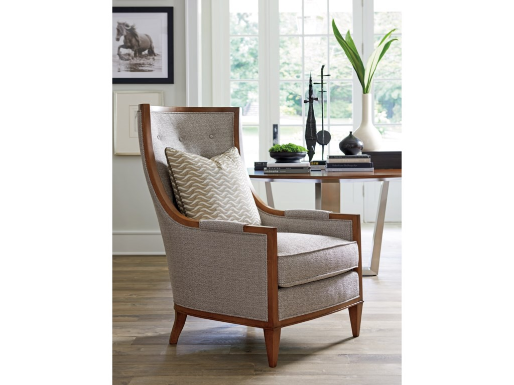 neutral beige wing back chair
