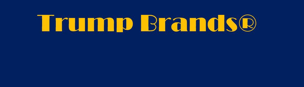 """Trump Brands"" gold lettering on a bark blue field"