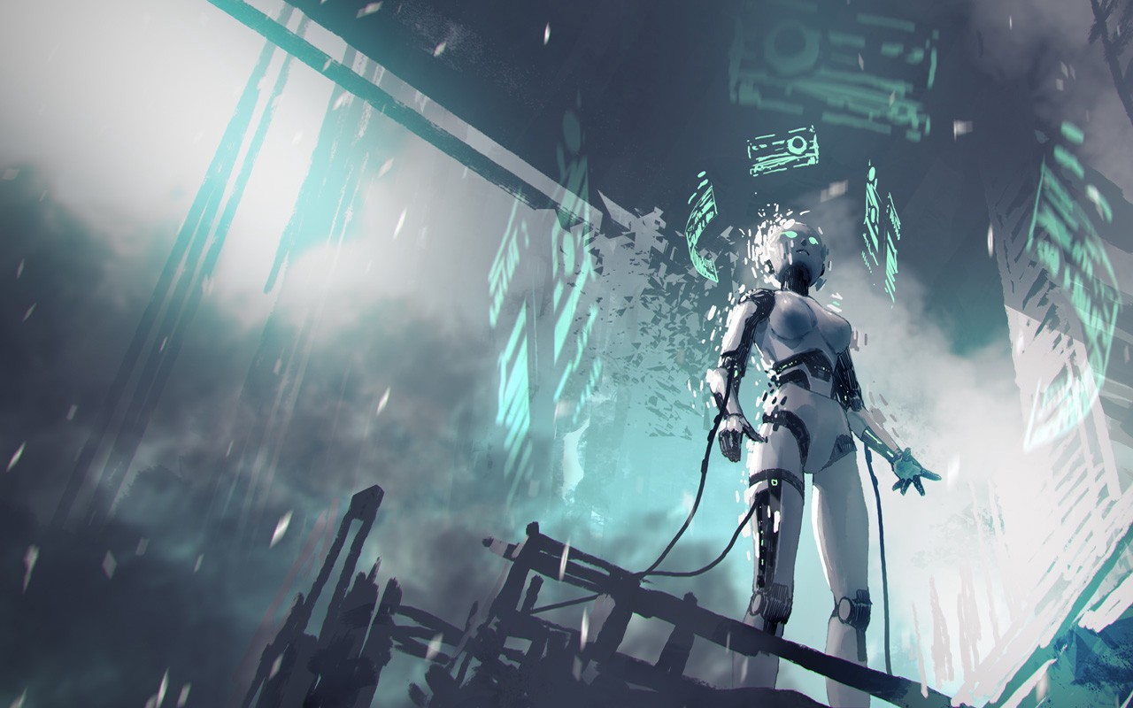 Female Robot in a city