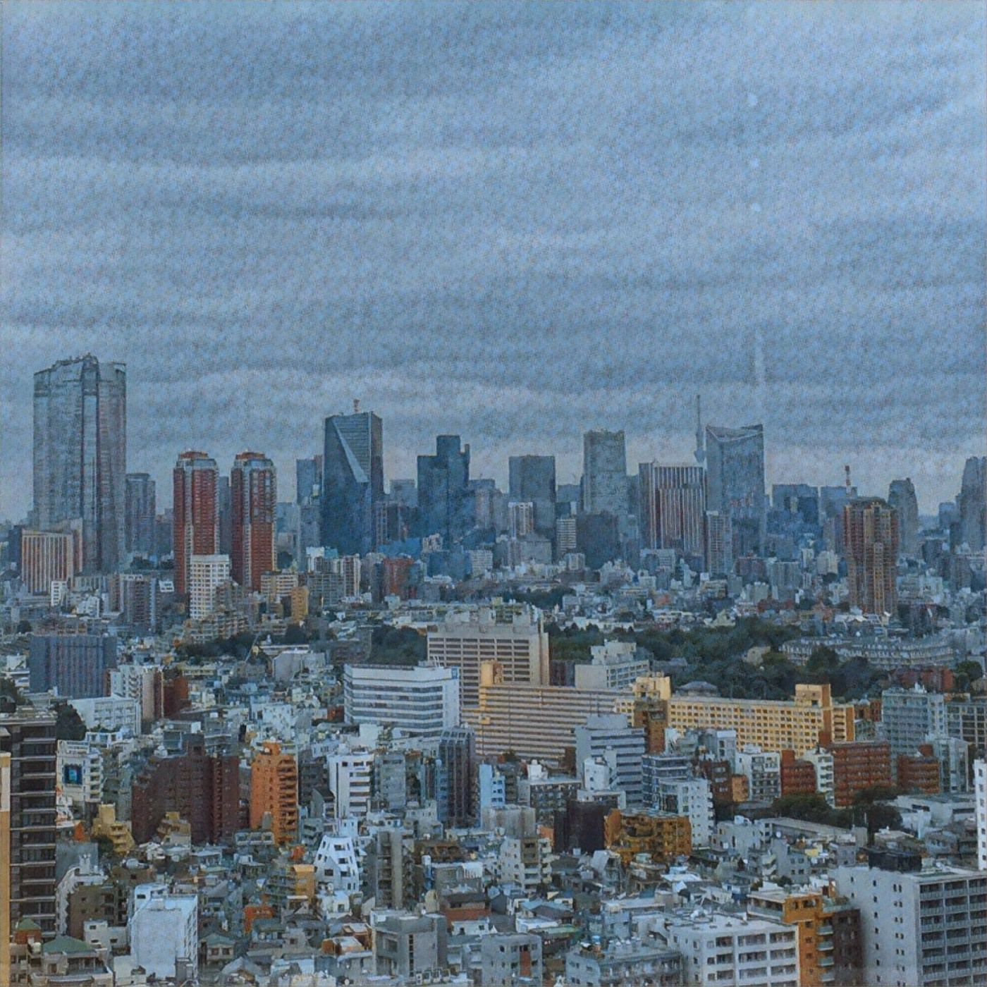 A watercolor style photograph of a city skyline.