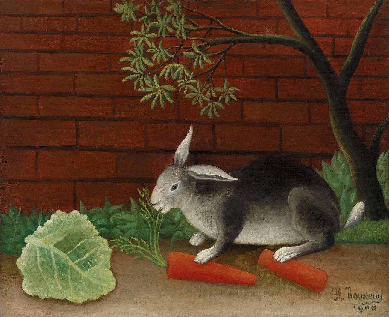A painting of a gray bunny rabbit next to a red brick wall, chewing on carrot leaves with a piece of lettuce nearby.