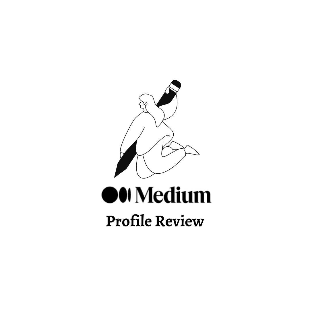 "A cartoon outline of a woman holding an oversized pen. Text says ""Medium Profile Review""."