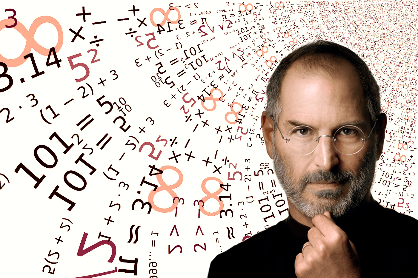 photo of Steve Jobs superimposed on a background of numbers and equations