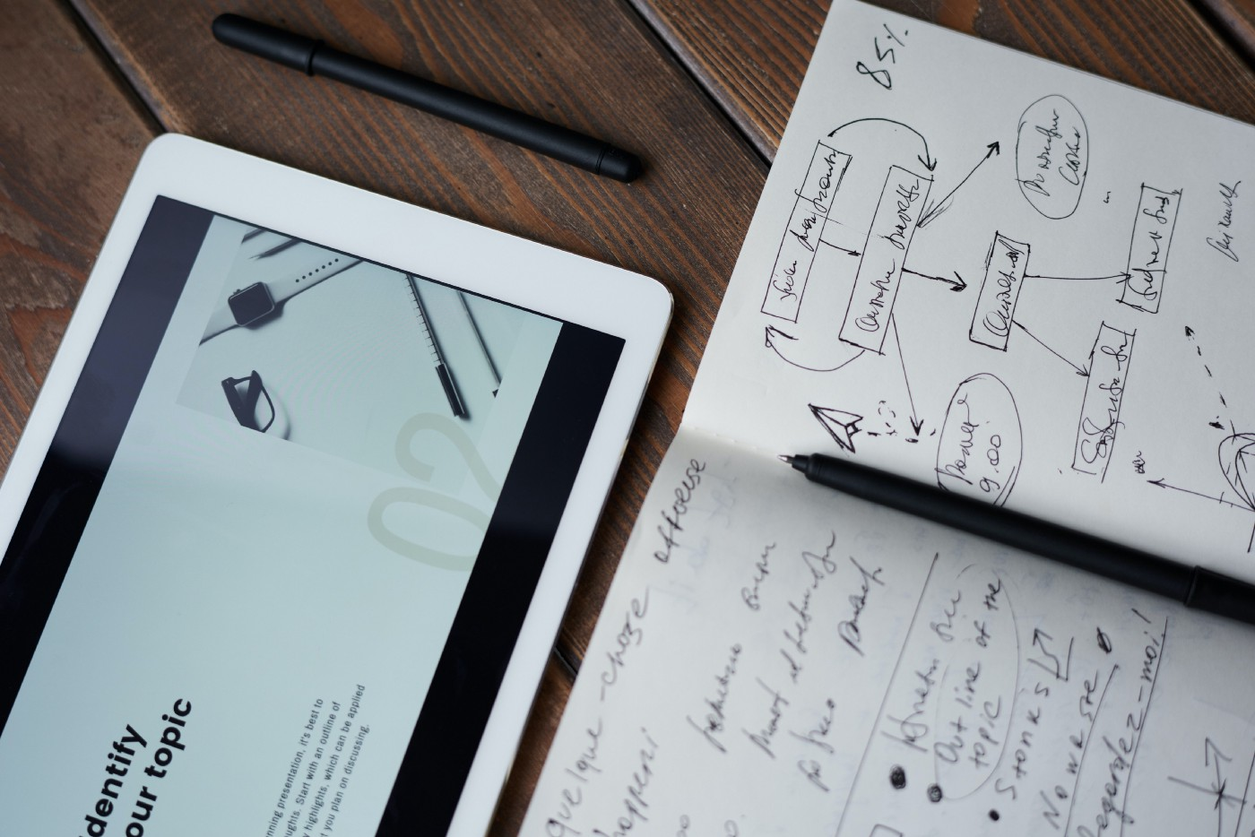 Photo of an ipad and a pen on top of a notebook.
