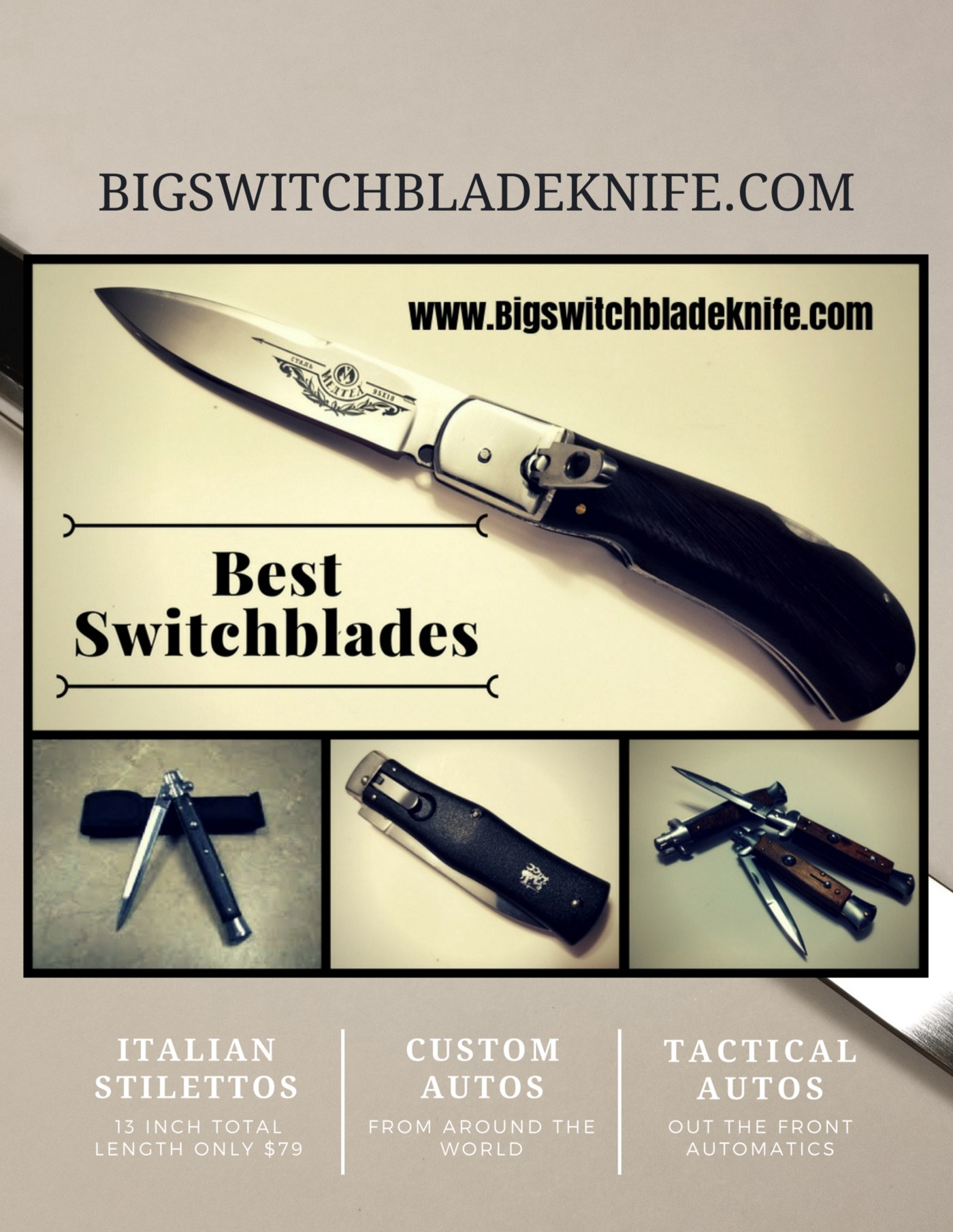 Buying Switchblade Automatic knives online  - Big switchblade knife