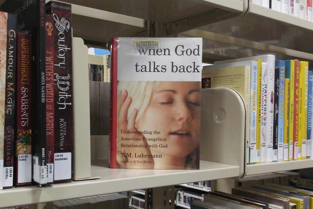 Photo of the book, When God Talks Back, on library shelf.