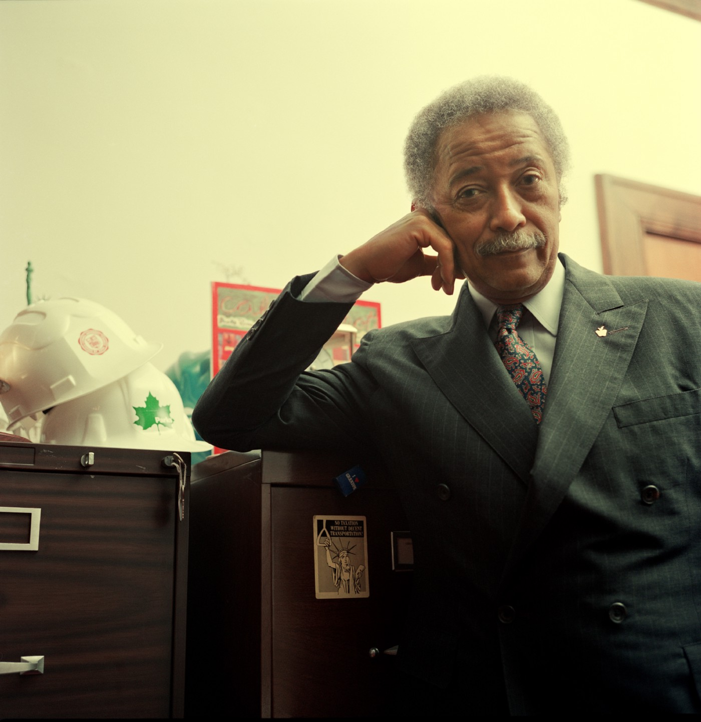 David N. Dinkins poses for a portrait in his office