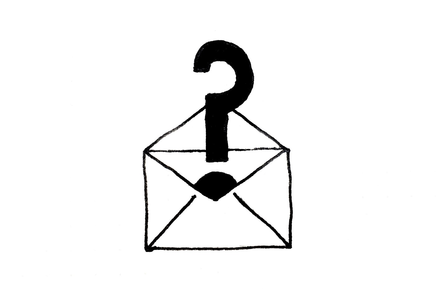 A question mark coming out of an opened email letter