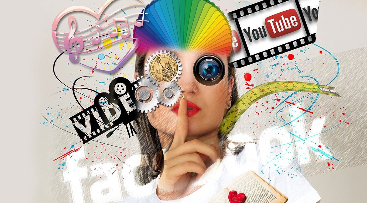 Woman with a finger over her lips, surrounded by social media symbols