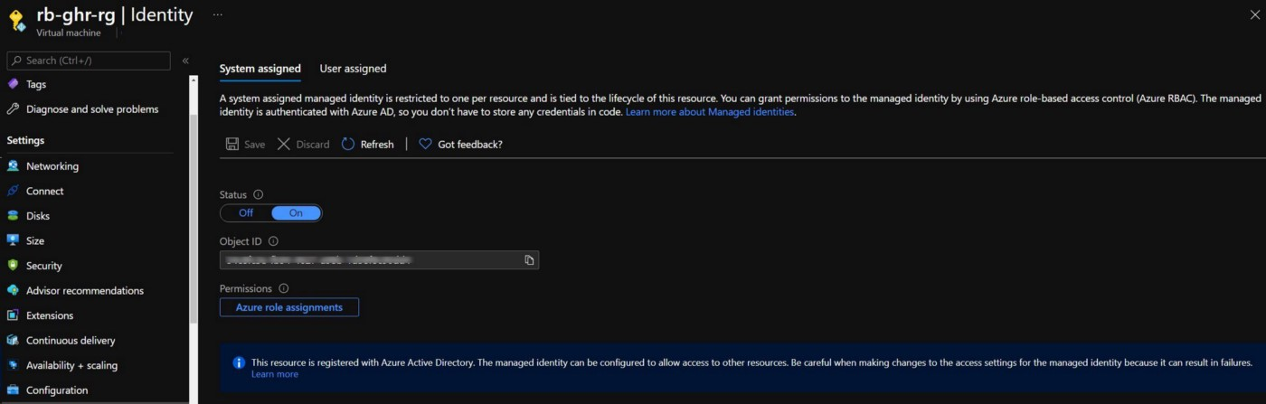 Screenshot showing the configuration of a System Assigned Identity in the Azure VM Resource in Azure Portal