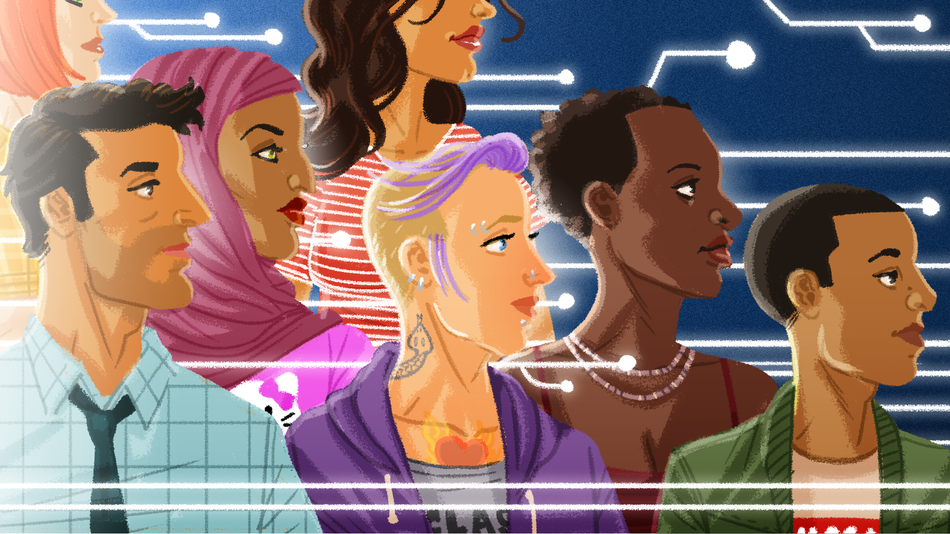 A drawing of people from various racial groups and genders all standing together