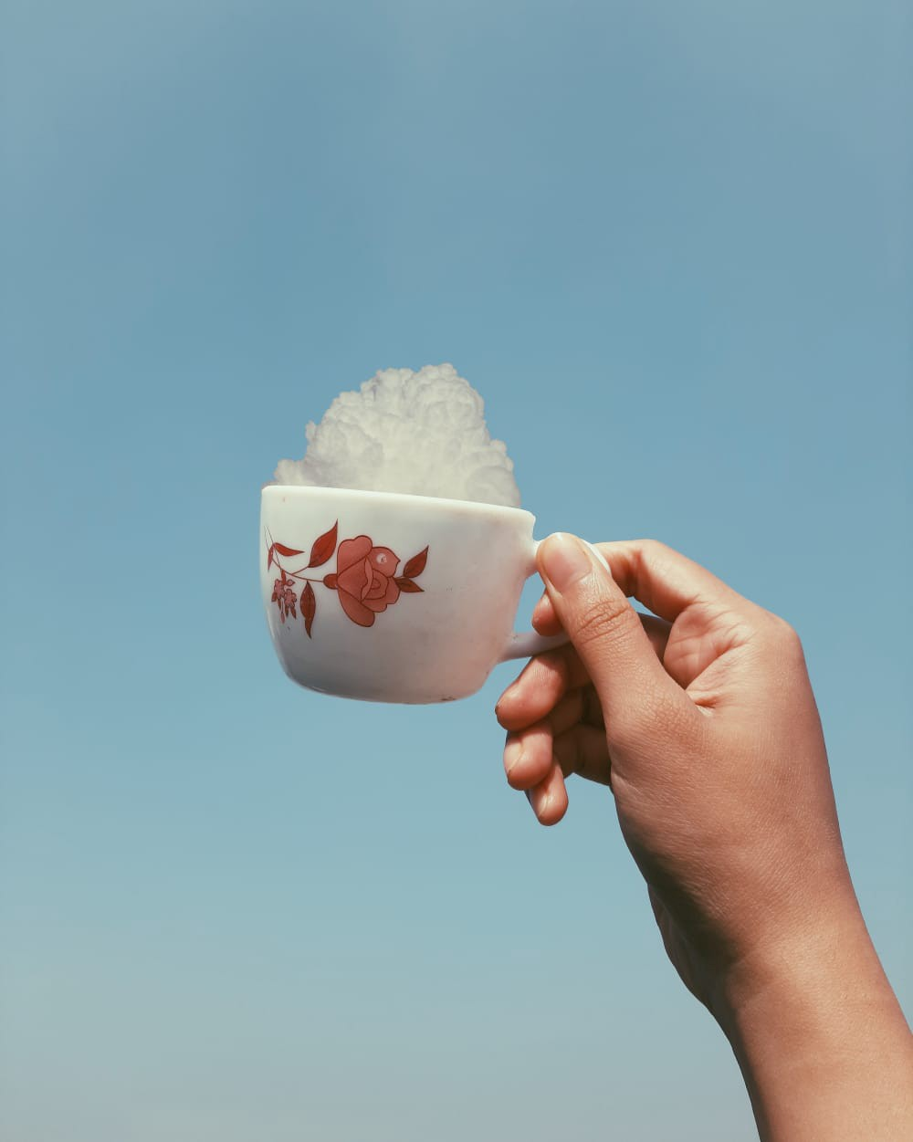 A hand holding a cup full of clouds
