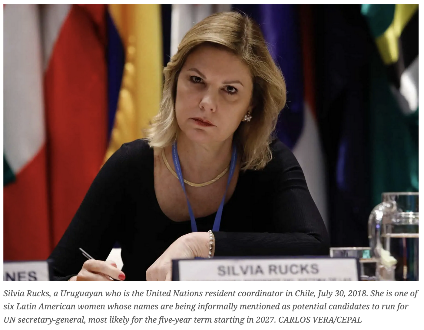 Silvia Rucks, a Uruguayan who is the United Nations resident coordinator in Chile, July 30, 2018.