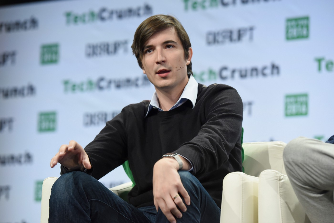 Co-founder and co-CEO of Robinhood Vladimir Tenev speaks onstage during TechCrunch Disrupt NY 2016