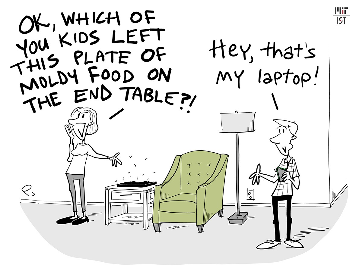 Cartoon of a woman mistaking her husband's dirty laptop for a moldy plate of food.