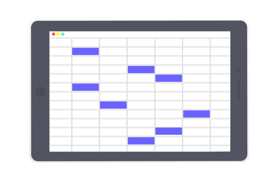 Drawing of spreadsheet