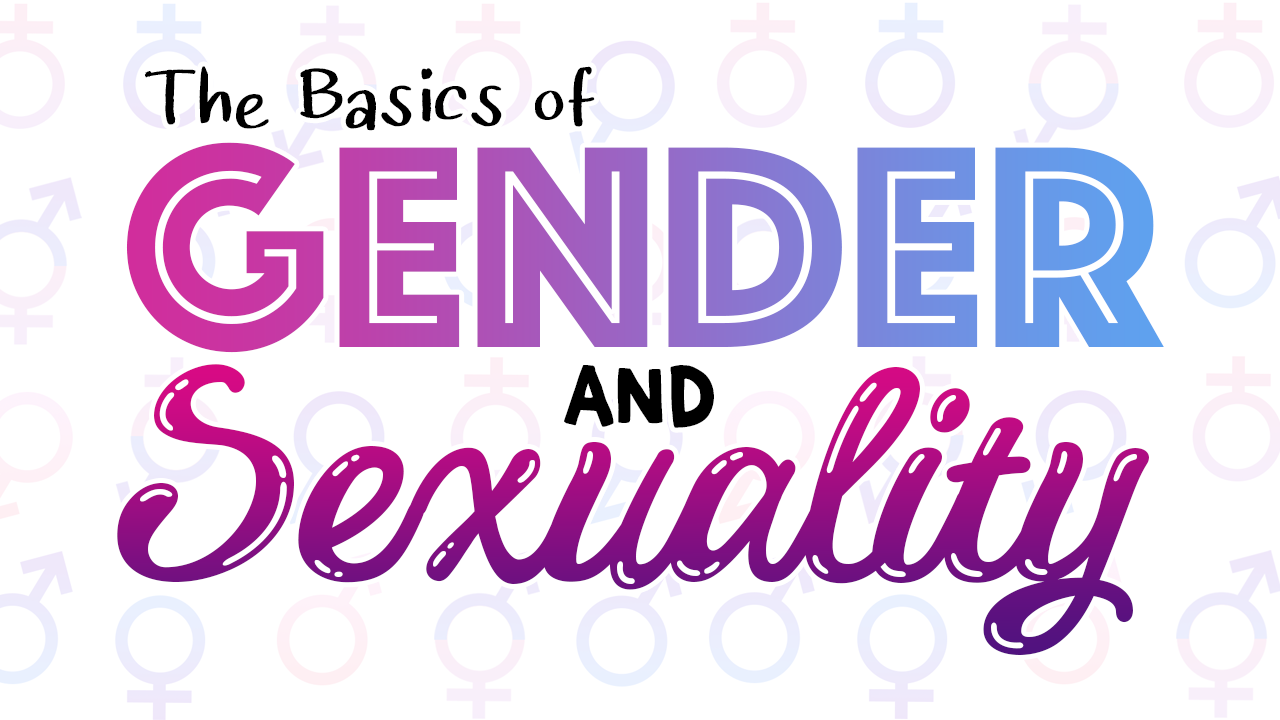 """A title slide with the words """"The Basics of Gender and Sexuality"""" overlaid on the male, female, and intersex symbols."""