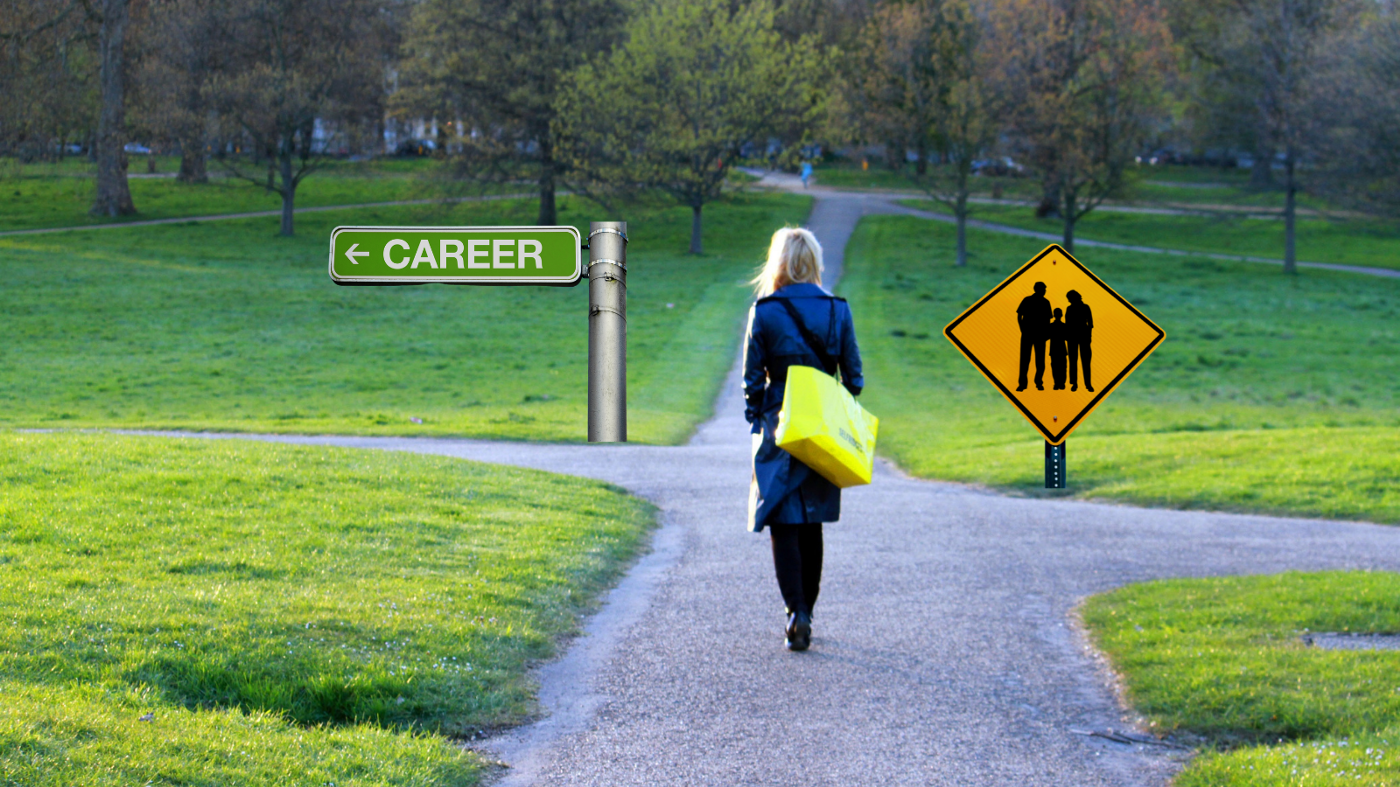 """Woman walking alone in a sunny park on crossroads, left signpost says """"Career"""", right signpost has image of a family"""