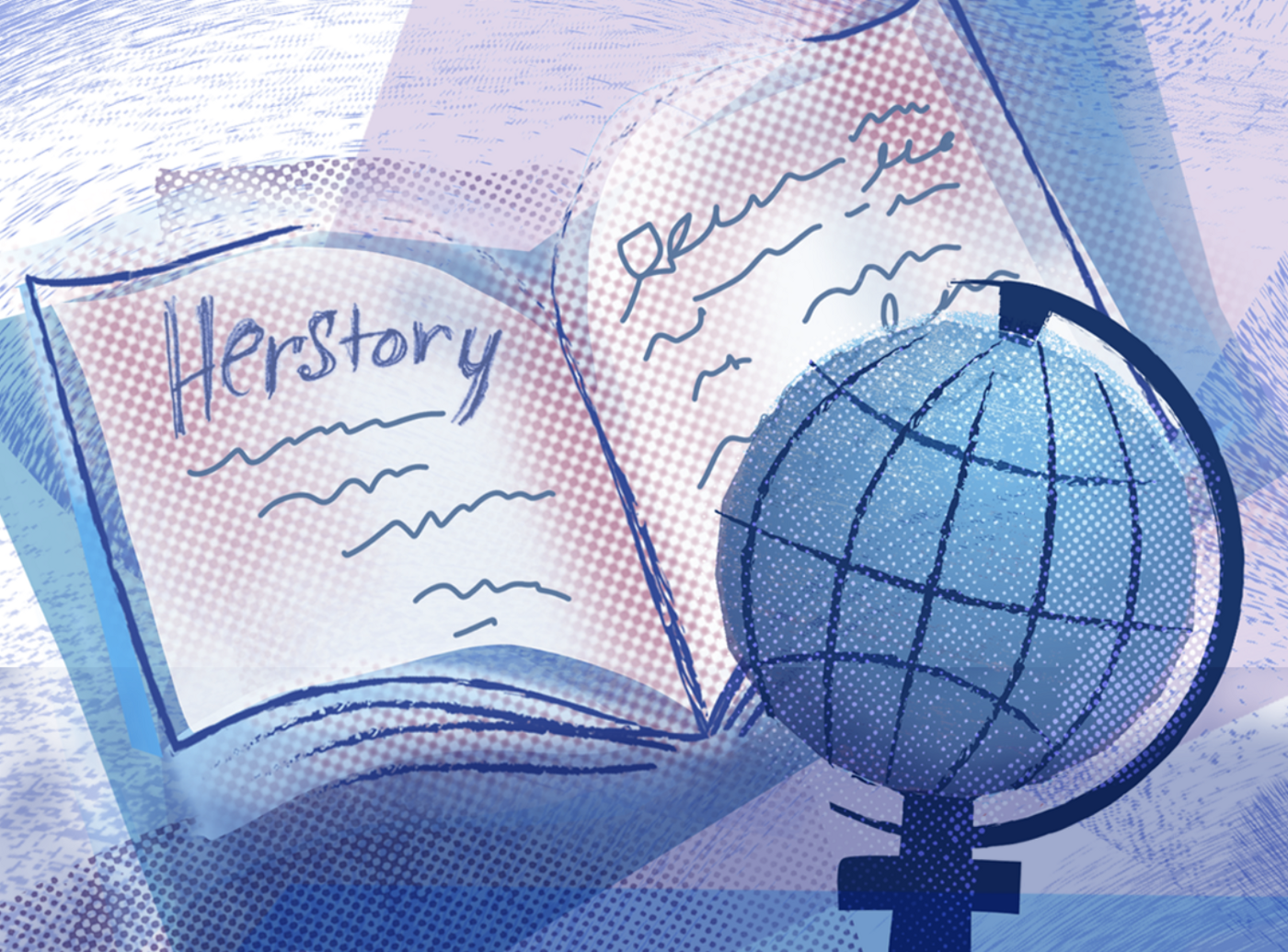 "Hand sketch of globe and book with ""Herstory"" written on it."