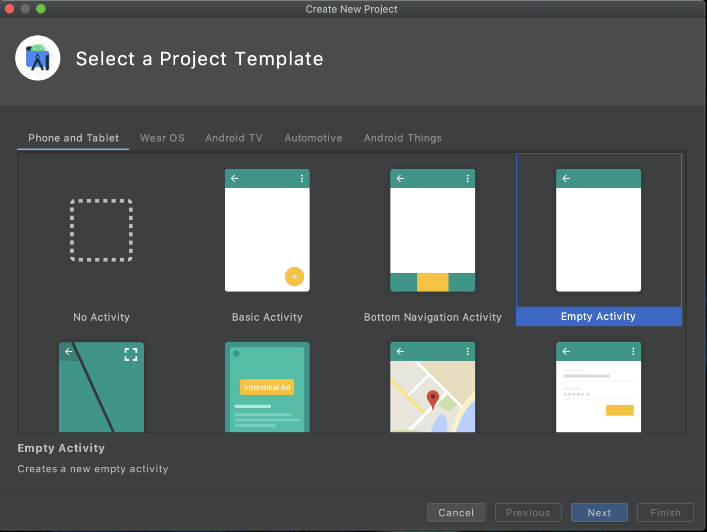Android Studio new project template selection screen. Empty Activity is highlighted.