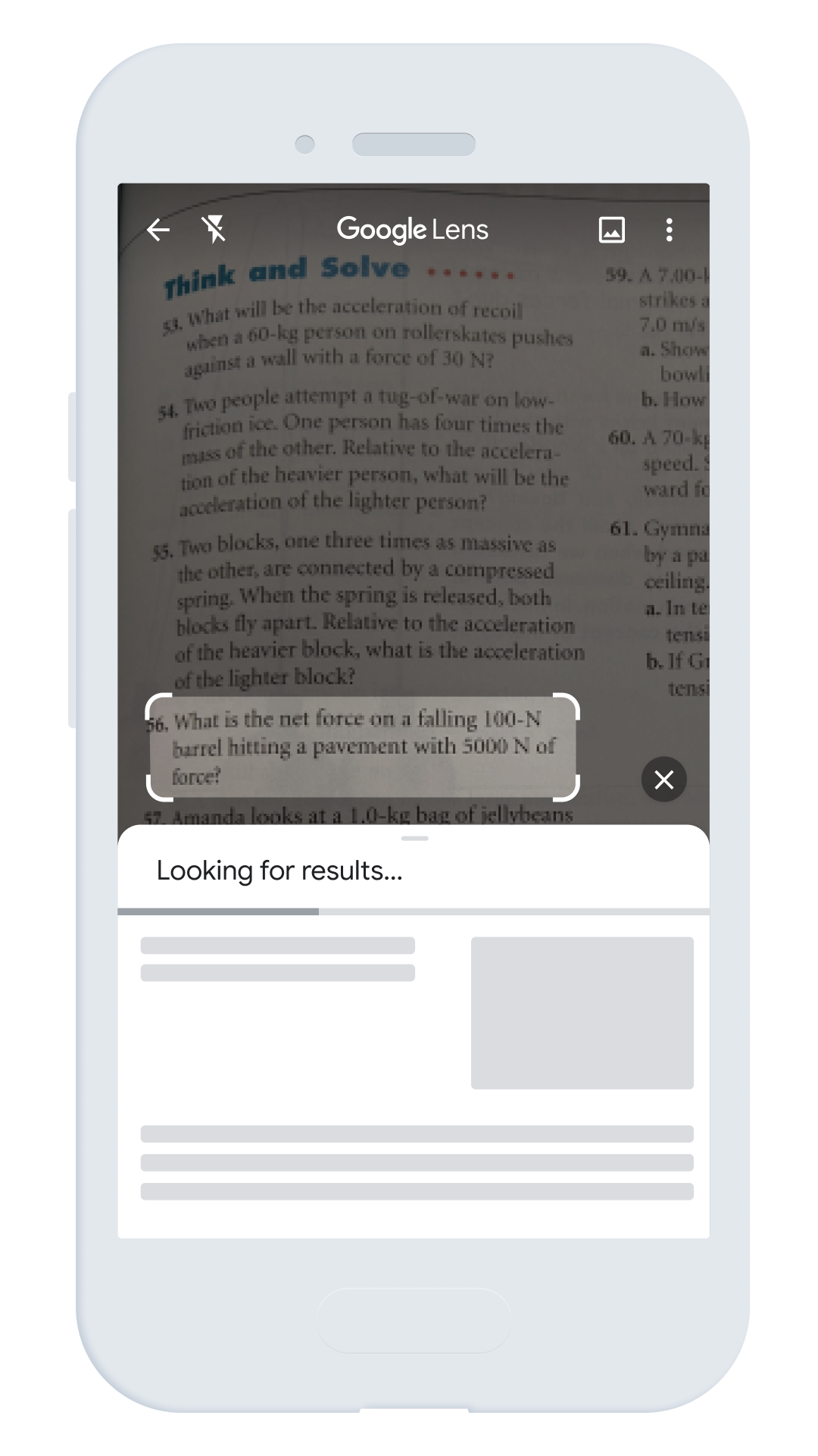 Google Lens search tool highlighting text