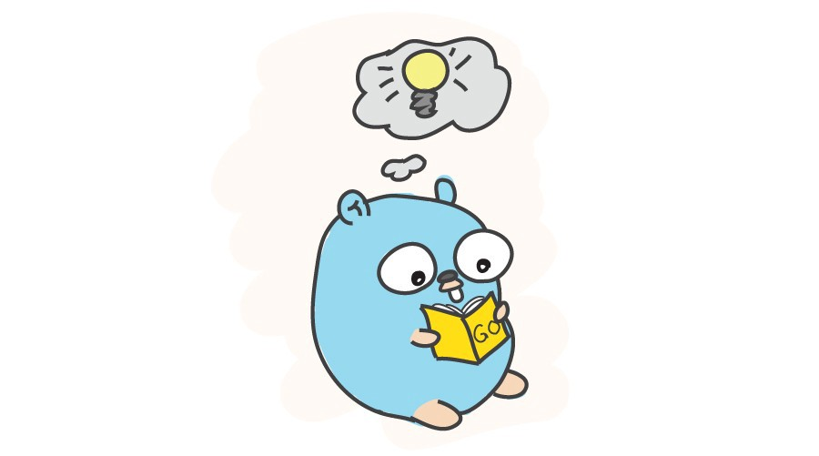 Gopher reading a Go programming language book