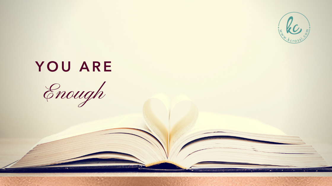 You Are Enough—Book with a heart in the center.