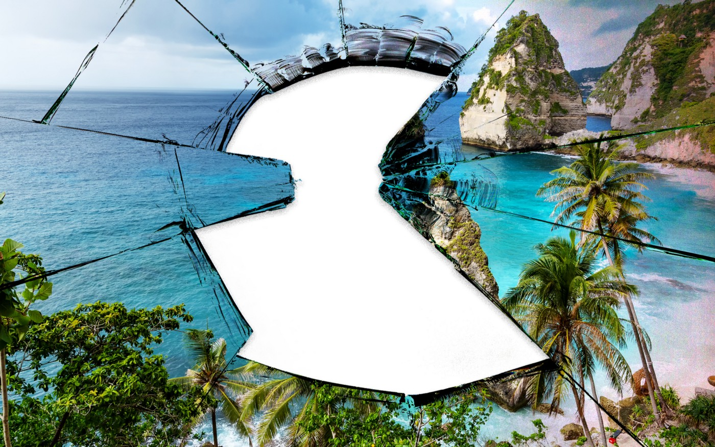 A photo illustration of a beach view of Bali shattered like glass with a giant hole in the middle.