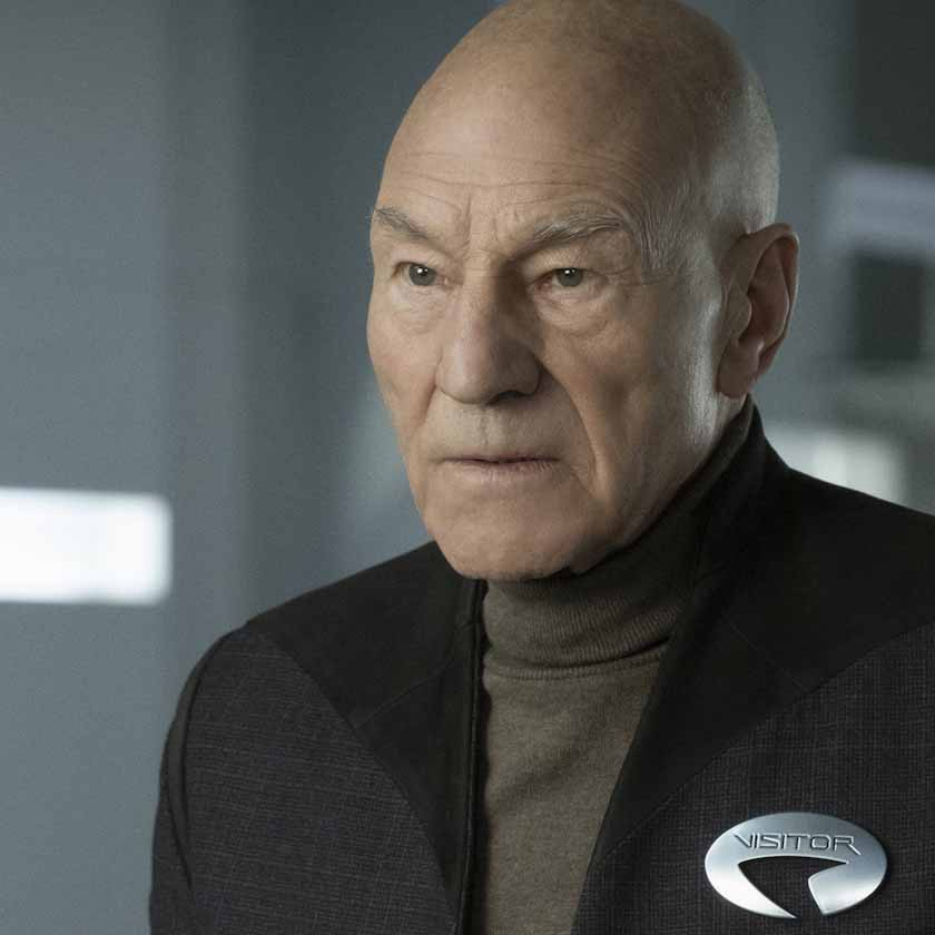 Patrick Stewart as Jean Luc Picard looking confused and concerned.