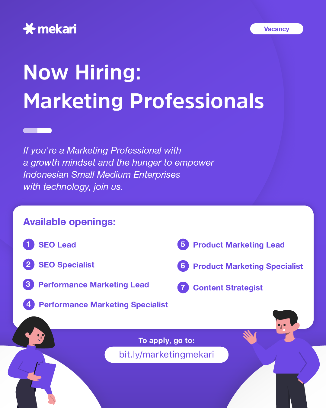 Job opening poster for several Marketing roles. you can apply here: bit.ly/marketingmekari