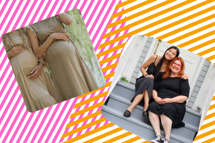 Two pregnant women touching their bellies, a white mother and Asian child on other side