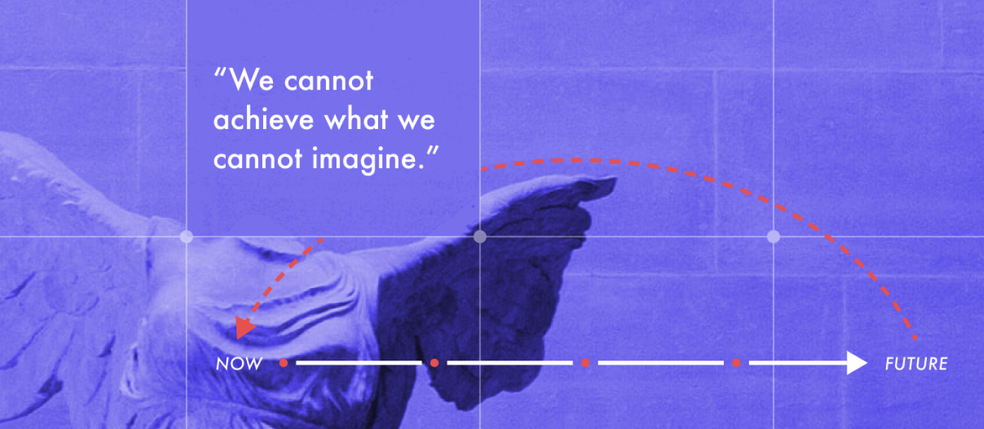 """Quote from Elise Boulding, """"We cannot achieve what we cannot imagine."""" White text on purple background."""