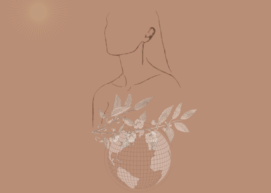 outline of a woman. globe with leaves sitting on it. a sun.